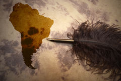 South America - terra incognita. South America map on vintage paper with old pen stock image