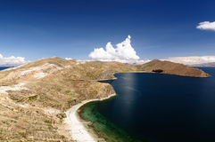 South America, Titicaca lake, Bolivia, Isla del Sol landscape Royalty Free Stock Images