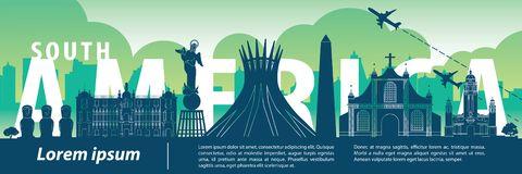 South america top famous landmark silhouette style,text within,travel and tourism stock illustration