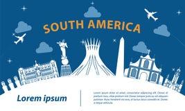 South america top famous landmark silhouette style on white curv Stock Photos