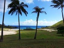 Anakena`s Moai. South America travel, Easter Island, Rapa Nui. Moai at the beach of Anakena royalty free stock images