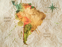 South america watercolor map Royalty Free Stock Photo