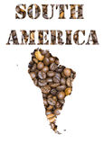 South America word and geographical shaped with coffee beans background Royalty Free Stock Images