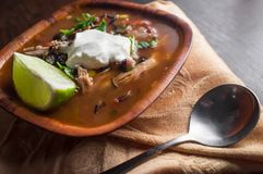 South American Aztec Soup. Fresh hot South American Aztec soup with cream and lime Stock Photography