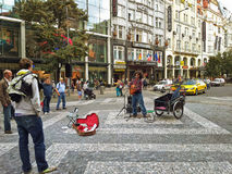 South American busker performs in Prague Stock Photo
