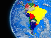 South american continent on political globe Stock Photos
