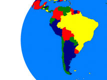 South american continent on political globe Royalty Free Stock Photo