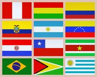 South american flags Royalty Free Stock Photos