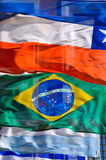 South American Flags. A row of waving South American flags Stock Photo