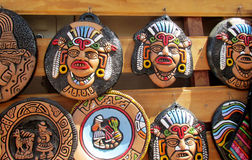 South American indians souvenir totem idol faces Royalty Free Stock Images