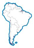South American Map blank. A line art map of South America without country names or tags vector illustration