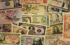 South-American money. A lot of South-American bills stock images