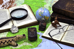South American Studies. Books, maps, historical objects related to South America Royalty Free Stock Photo