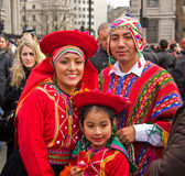 South american tipical costumes, trafalgar square Royalty Free Stock Images