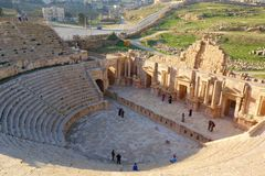 South Antique Theater, Ancient Roman city of Gerasa of Antiquity, modern Jerash, Jordan, Middle East. Unesco protected site located in Northern Jordan, Jerash royalty free stock photo