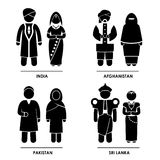 South Asia Clothing Costume. A set of pictograms representing people clothing from India, Afghanistan, Pakistan, and Sri Lanka Royalty Free Stock Photos