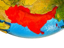 South Asia on 3D Earth. With divided countries and watery oceans. 3D illustration royalty free stock photography