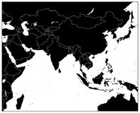 South Asia Map Black Color. Detailed  map of South Asia Stock Images