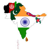 South Asia Map. Map of South Asia with the counties filled in with the national flag stock illustration