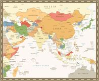South Asia Map Retro Color. Detailed map of South Asia royalty free illustration
