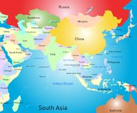 South asia map. Vector color south asia map vector illustration