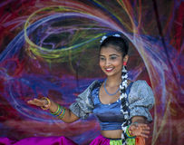 South Asian dancer on stage in Surrey, British Columbia. Royalty Free Stock Images