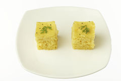 South asian indian gujarati lentil cake dhokla. Stock Photos