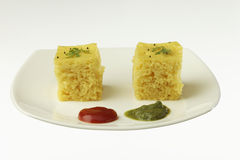 South asian indian gujarati lentil cake dhokla. Stock Photo