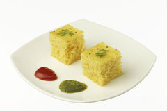 South asian indian gujarati lentil cake dhokla. Royalty Free Stock Image