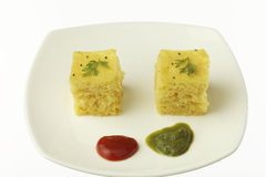 South asian indian gujarati lentil cake dhokla. Stock Images