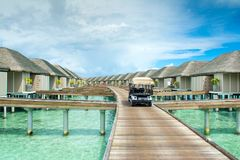 Wooden villas over water of the Indian Ocean Stock Images