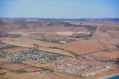 South Australia Drought. Aerial photograph taken above rural agricultural land in South Australia, featuring drought-affected farmland stock photo