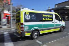 South Australia Emergency Ambulance rushing to scene. SA Emergency Ambulance.SA Health provide clinical care and patient transport services to over 1.5 million stock photo