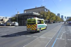 South Australia Emergency Ambulance rushing to scene. SA Emergency Ambulance.SA Health provide clinical care and patient transport services to over 1.5 million royalty free stock image