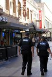 South Australia police officer patrolling in Rundle Mall Adelaide. South Australia Police have over 5000 active sworn members that currently focus on preventing stock images