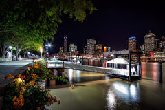 South Bank Ferry Terminals with view of Brisbane City Stock Photos