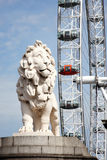 South Bank Lion and London Eye Royalty Free Stock Image