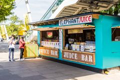 South bank in London. London. June 2018. A view of the juice bar along the south bank in London royalty free stock images