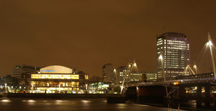 South Bank London. Night view of London South Bank with Royal Festival Hall Stock Images