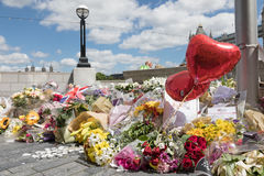 South Bank memorial to victims of terrorism. London, UK - 7 June 2017: Floral tributes laid on the South Bank as a memorial to the victims of the terrorist Stock Photography