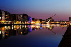 South bank of the river Liffey at Dublin City Center at night Royalty Free Stock Photo