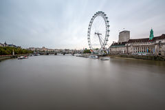 South Bank of the River Thames and London Skyline in the Morning Royalty Free Stock Image