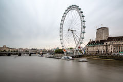 South Bank of the River Thames and London Skyline in the Morning Stock Image
