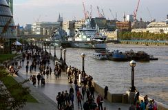 South Bank Riverside Scene, Southwark, London Royalty Free Stock Photo