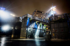 South bank stairs. This was taken at London's trendy South Bank district, on a rainy winter night, showing a flight of stairs created by shipping containers royalty free stock images