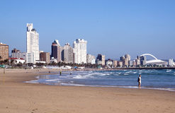South Beach Against City Skyline in Durban Stock Image
