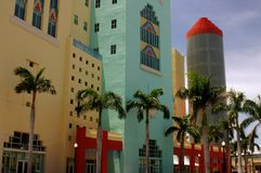 South Beach. The colors of South Beach in Miami Beach are on display. Colorful buildings are the way to go in this part of FL Stock Image