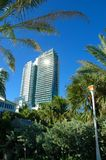 South Beach Hotel. Skyscraper Hotel in South Beach, Miami surrounded by tropical vegetation Royalty Free Stock Photos