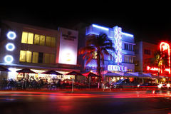 South Beach hotels Night royalty free stock photo