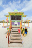 South Beach Lifeguard Hut. Colorful lifeguard station/hut located in South Beach, Miami royalty free stock photos